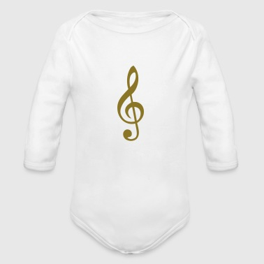 treble clef - Organic Long Sleeve Baby Bodysuit