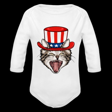 Cat Lover 4th Of July - Long Sleeve Baby Bodysuit