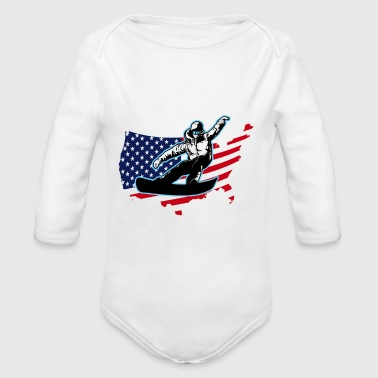 Proudly American Snowboarding T Shirts And Hoodies - Organic Long Sleeve Baby Bodysuit