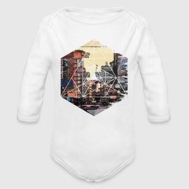 Retro Vintage Geometric - Streets of Chinatown Asi - Organic Long Sleeve Baby Bodysuit