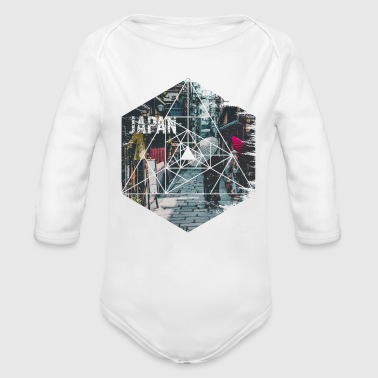Vintage Geometric Streets of Japan Travel - Organic Long Sleeve Baby Bodysuit
