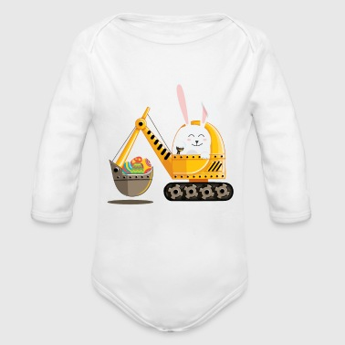 Easter Bunny Excavator with Decorated Eggs - Organic Long Sleeve Baby Bodysuit