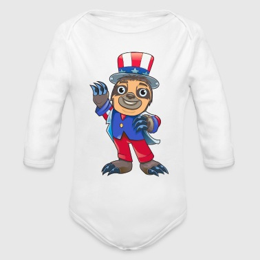 Sloth July Of 4th - Organic Long Sleeve Baby Bodysuit