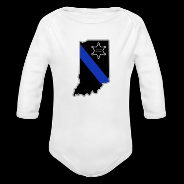Indiana Deputy Sheriff T Shirt Thin Blue Line - Organic Long Sleeve Baby Bodysuit