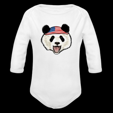 Panda 4th Of July - Organic Long Sleeve Baby Bodysuit