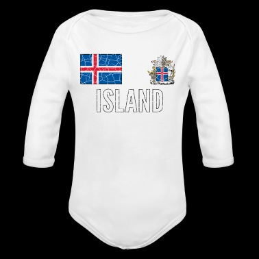 Iceland Soccer Jersey Vintage World Football Cup - Organic Long Sleeve Baby Bodysuit