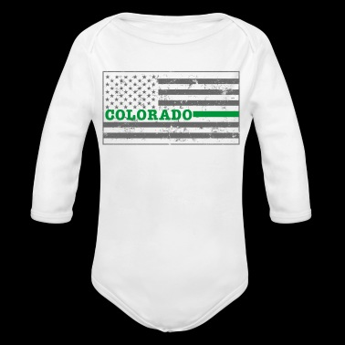 Colorado Military Border Patrol Shirt Thin Green Line Shirt - Organic Long Sleeve Baby Bodysuit