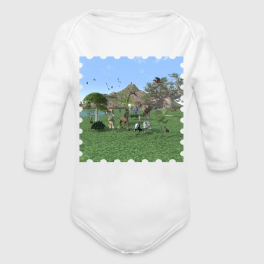 An exotic wild animal scene - Organic Long Sleeve Baby Bodysuit