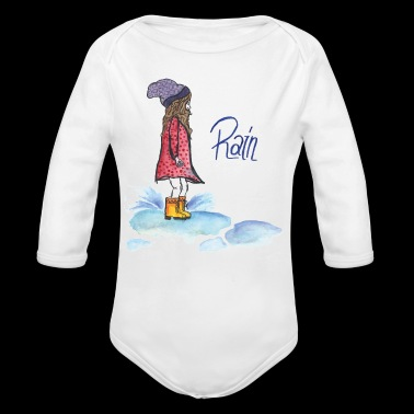 girl playing in a rain puddle - Long Sleeve Baby Bodysuit
