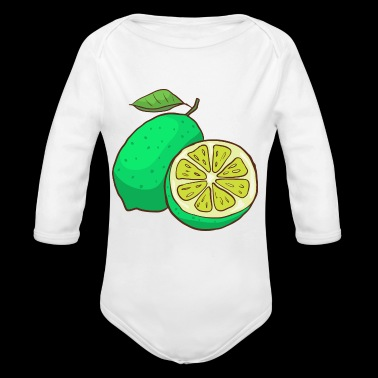 Green Lime Citrus - Long Sleeve Baby Bodysuit