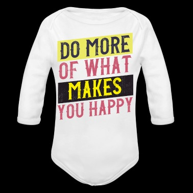 happy vintage style quote - Long Sleeve Baby Bodysuit