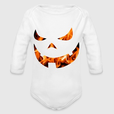 Halloween pumpkin face with fire - Long Sleeve Baby Bodysuit