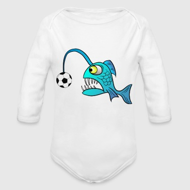 funny Lantern Fish with Soccer ball - Organic Long Sleeve Baby Bodysuit