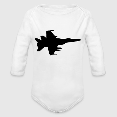 Airplane Fighter Jet Pilot Gift Idea - Organic Long Sleeve Baby Bodysuit
