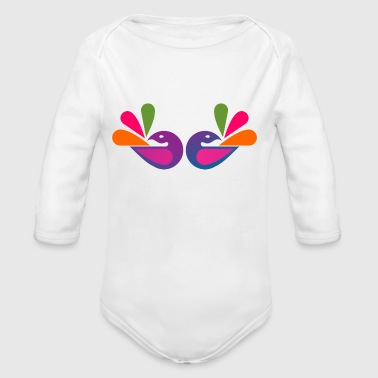 Two Pretty Peacock - Long Sleeve Baby Bodysuit