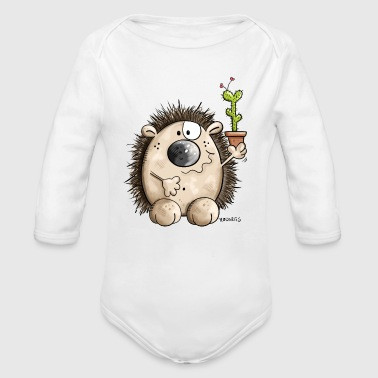 Hedgehog with a little cactus - Gift - Cute  - Organic Long Sleeve Baby Bodysuit