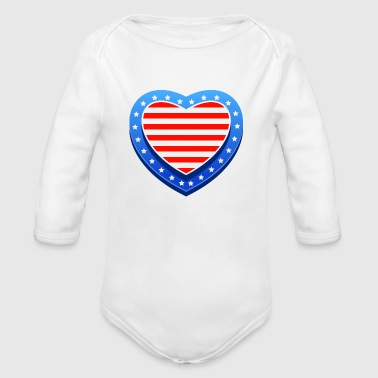 Valentine's Day Heart USA - Organic Long Sleeve Baby Bodysuit