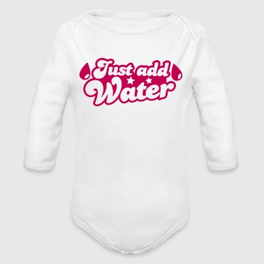 JUST ADD WATER with droplets and stars - Organic Long Sleeve Baby Bodysuit