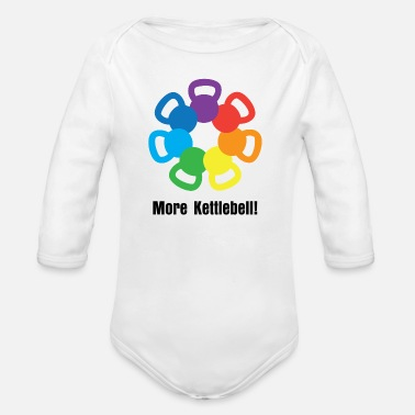 Kettlebell kettlebell rainbow - weight lifting - Organic Long Sleeve Baby Bodysuit