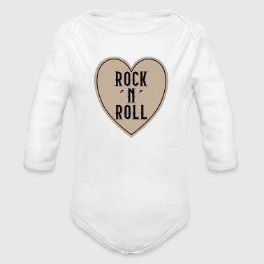 I LOVE ROCK N ROLL HEART - Organic Long Sleeve Baby Bodysuit