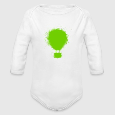 balloon green - Organic Long Sleeve Baby Bodysuit