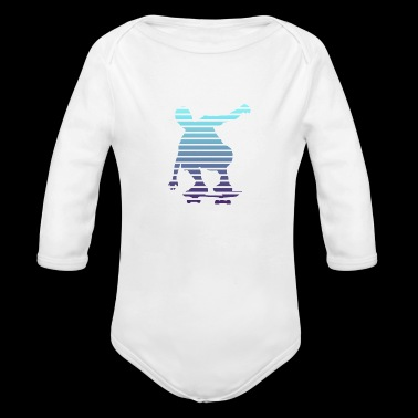 Skater Shape Lines Duotone Design - Long Sleeve Baby Bodysuit