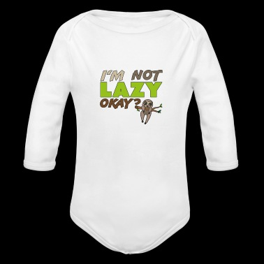 I'm not lazy okay , funny gift idea, sloth - Long Sleeve Baby Bodysuit