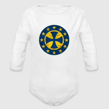 EU Flag Crusader Cross - Organic Long Sleeve Baby Bodysuit