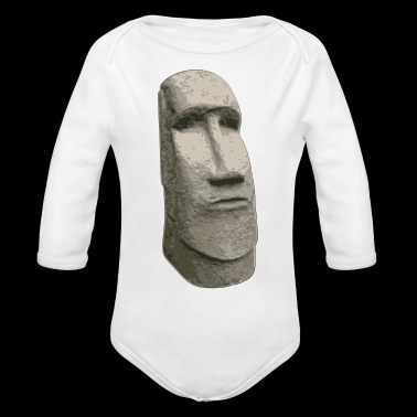 Brown Stone Easter Island Carved Moai Head - Long Sleeve Baby Bodysuit