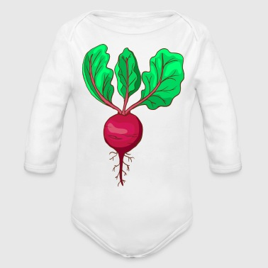 Beetroot Taproot Beet Plant Golden Red - Organic Long Sleeve Baby Bodysuit