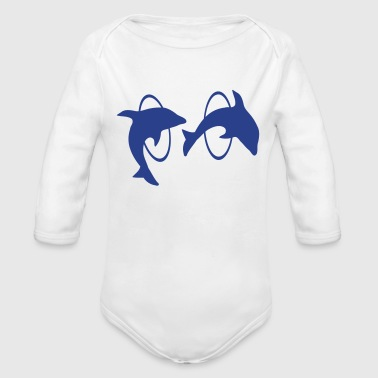 Dolphins with hula hoops - 6 - Organic Long Sleeve Baby Bodysuit