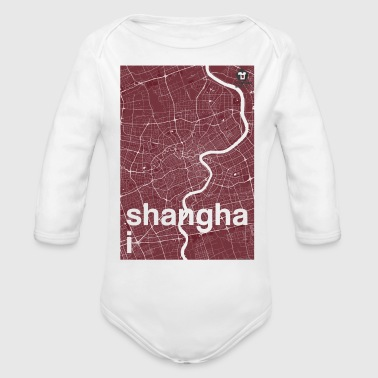 Shanghai hipster city map red - Organic Long Sleeve Baby Bodysuit