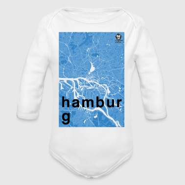Hamburg hipster city map blue - Organic Long Sleeve Baby Bodysuit