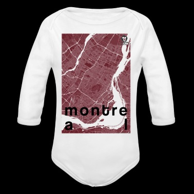 Montreal hipster city map red - Organic Long Sleeve Baby Bodysuit