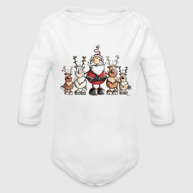 Santa Claus and his Reindeers - Christmas - Gift - Organic Long Sleeve Baby Bodysuit