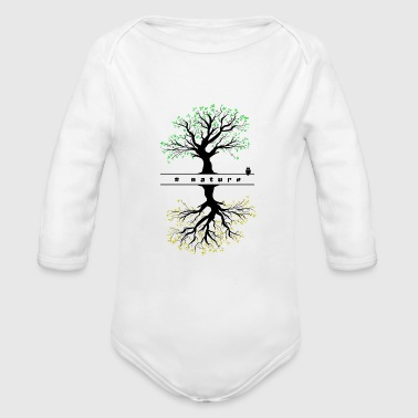 Trees and owl - Organic Long Sleeve Baby Bodysuit