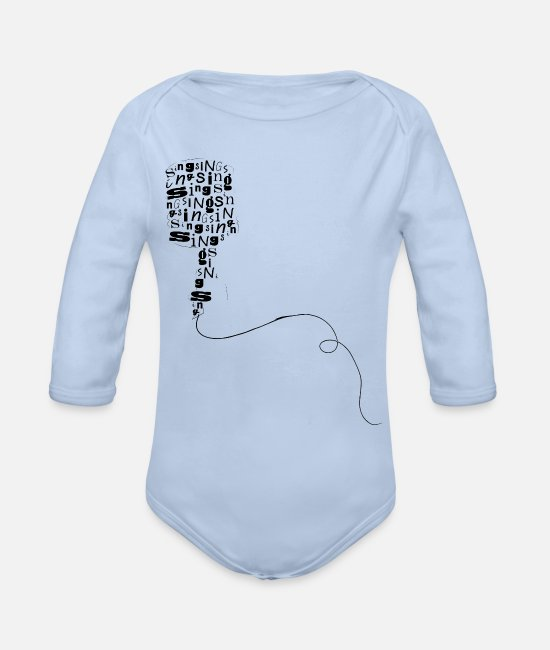 Artist Baby One Pieces - Microphone Typography - Organic Long-Sleeved Baby Bodysuit sky