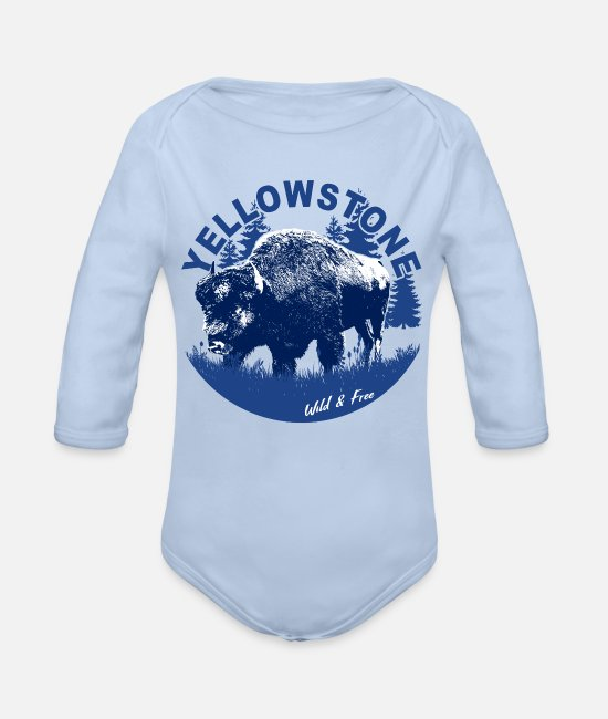 Mountains Baby One Pieces - Yellowstone Bison Wild Free - Organic Long-Sleeved Baby Bodysuit sky