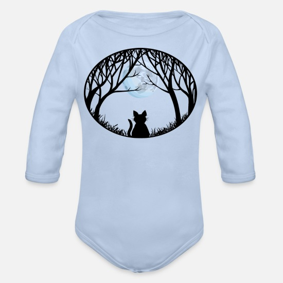 Long Baby Clothing - Fat Cat Shirts & Cat Lover Gifts - Organic Long-Sleeved Baby Bodysuit sky
