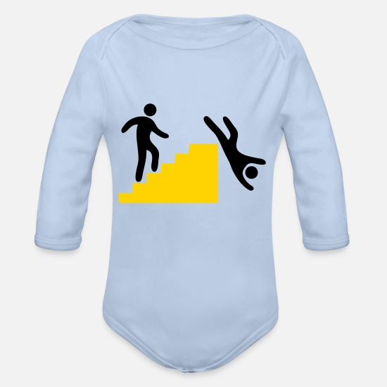 Symbol  Baby Clothing - WARNING man jumping off the stairs funny - Organic Long-Sleeved Baby Bodysuit sky