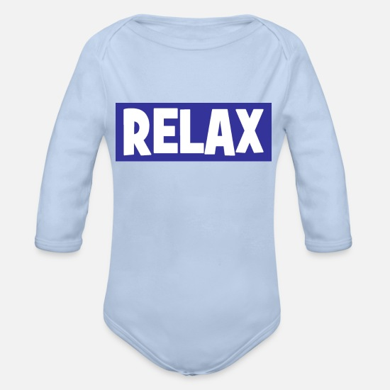 Relax Baby Clothing - RELAX - chill - chill out - relaxing - Organic Long-Sleeved Baby Bodysuit sky