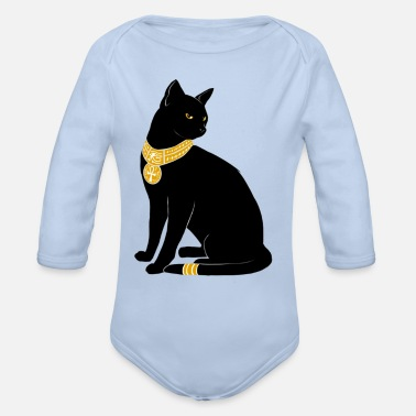 Gold BLACK CAT WITH GOLD JEWELRY - Organic Long-Sleeved Baby Bodysuit