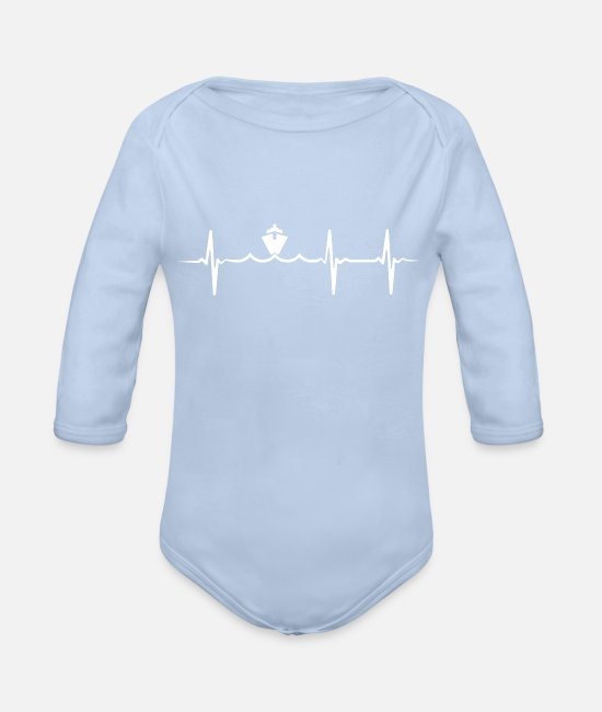 Ekg Baby One Pieces - Heartbeat Ship Cruise Ship - Organic Long-Sleeved Baby Bodysuit sky