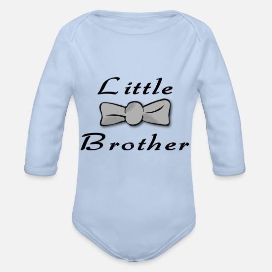 Little Brother Baby Clothing - little brother bow tie - Organic Long-Sleeved Baby Bodysuit sky