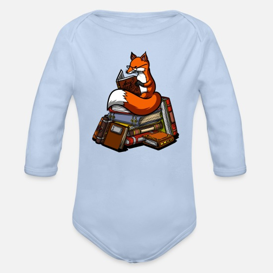 Fox Baby Clothing - Cute Fox Book Reading Animal - Organic Long-Sleeved Baby Bodysuit sky
