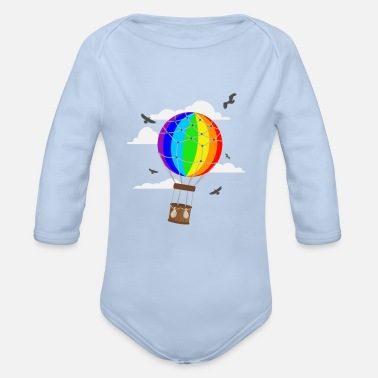 Air hot air balloon, rainbow, birds, clouds - Organic Long-Sleeved Baby Bodysuit