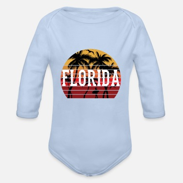 Caribbean Florida Palm Tree Holiday Motif Gift Idea Design - Organic Long-Sleeved Baby Bodysuit