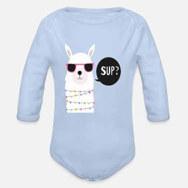 Graphic Swaggy Alpaca / Graphic Art Design - Organic Long-Sleeved Baby Bodysuit