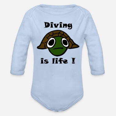 Thailand diving fish ocean sea turtle shark - Organic Long-Sleeved Baby Bodysuit