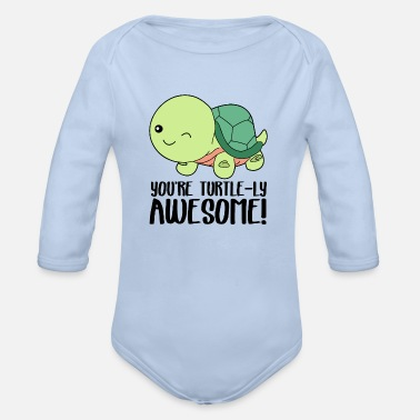 Winking Cute Turtle - You're turtle-ly awesome - Organic Long-Sleeved Baby Bodysuit